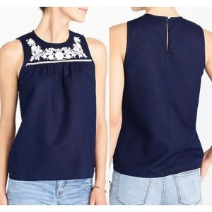 J. Crew💕Embroidered Floral Navy Linen Blouse Top